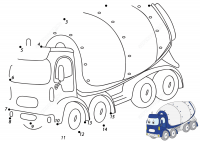 Dot-to-dot Cartoon Cement mixer truck Coloring Page