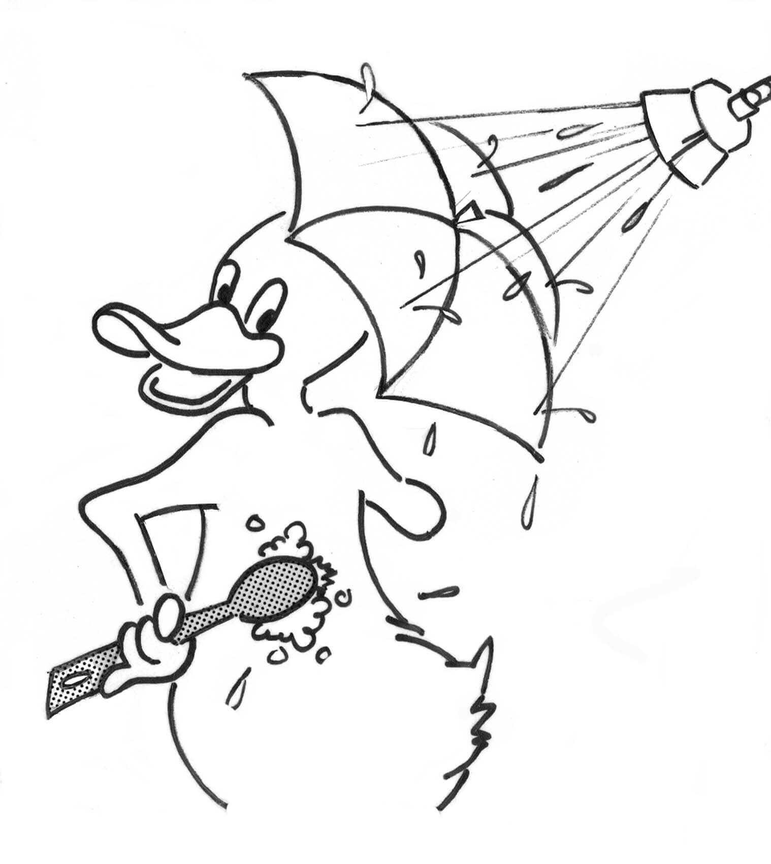Cartoon duck with umbrella takes a shower Coloring Pages