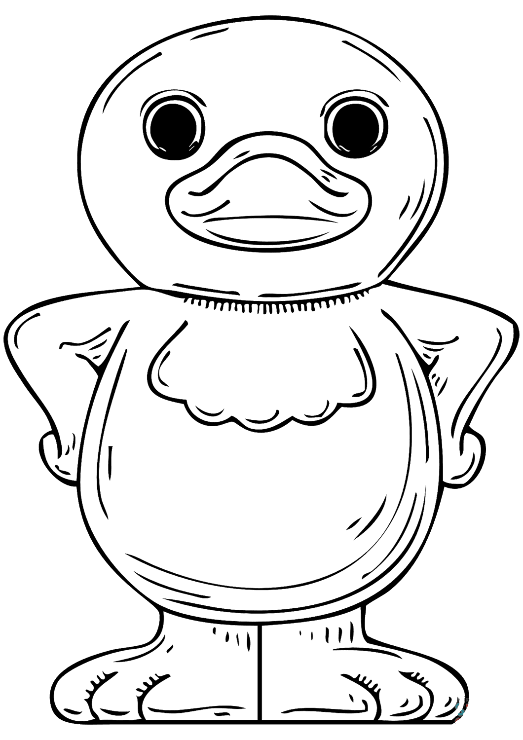 Funny cartoon duckling wears bib Coloring Pages