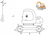 Cartoon excavator dot-to-dots for kids Coloring Page