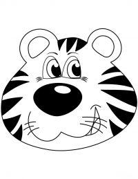 Jaunty cartoon tiger head Coloring Page