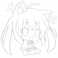 Surprised Chibi Cat girl has a big head Coloring Page