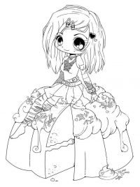 Chibi beautiful girl on apple cake Coloring Page