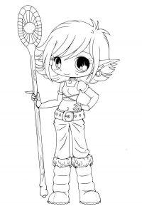 Chibi Magic girl holds druidic rod Coloring Page