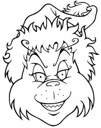 Grinch has a snub-nosed with a cat-like face Coloring Page