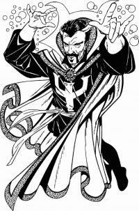 The Sorcerer Doctor Stephen Strange attempts to summon his own weapon Coloring Page