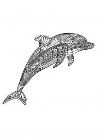 Beautiful mandala Dolphin Coloring Page
