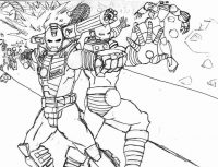 Iron man attacks the enemy by shooting repulsor rays Coloring Page