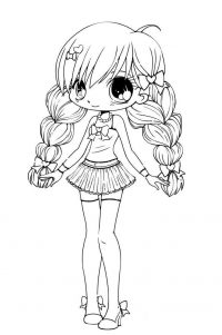 Chibi cute schoolgirl plaited hair Coloring Page