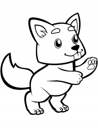 Cute tail of wolf cub wagging Coloring Page