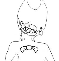 Cute Ink Bendy smiles from Bendy and the Ink machine games Coloring Page
