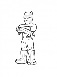 Chibi cute Black Panther from Avengers Coloring Page