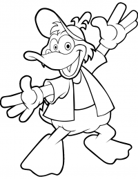 Funny cartoon duck wears a cap Coloring Page