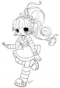 Chibi beautiful girl sings while running Coloring Page
