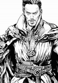 Doctor Strange brings Cloak of Levitation and Time Stone necklace Coloring Page