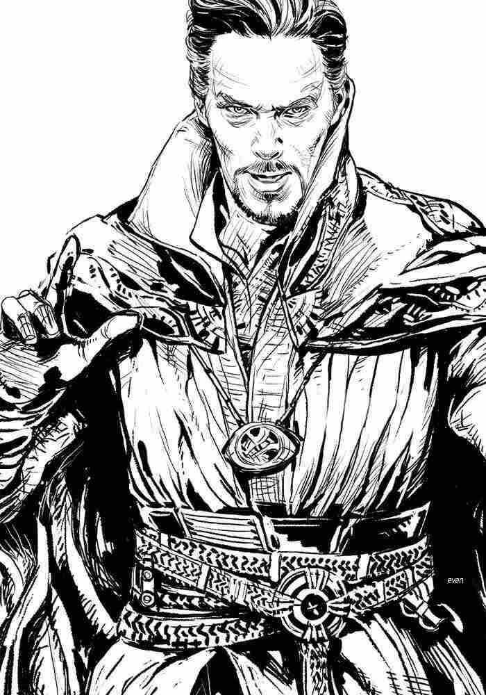 Doctor Strange brings Cloak of Levitation and Time Stone necklace Coloring Pages
