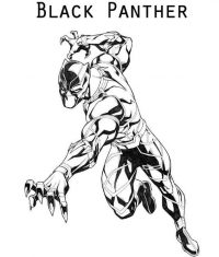 Black Panther runs like a panther Coloring Page