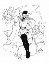 Dr.Strange uses Cloak of Levitation to levitate and hover in the air Coloring Page