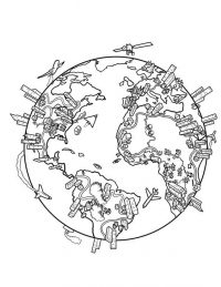 Earth surrounded with buildings and transportation Coloring Page