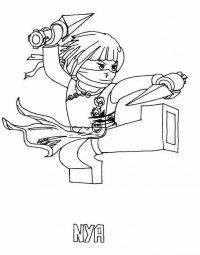 Nya from Allies Ninja uses Golden Nick Daggers in Ninjago Coloring Page