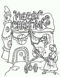 Woman decorates house for Christmas in the Grinch Coloring Page