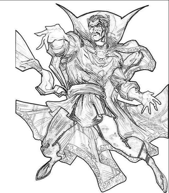 Detailed Dr. Strange with his crippled hand from the Avengers Coloring Pages