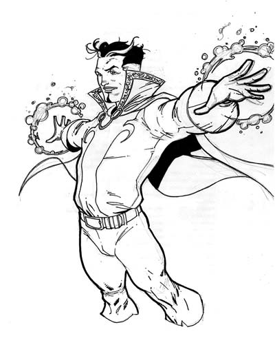 Doctor Strange wielding arcane spells and mystical artifacts Coloring Pages