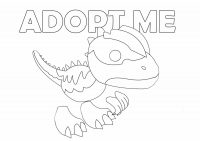 Dilophosaurus from Adopt me has several spikes along its head, body, and tail Coloring Page
