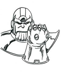 Disney Thanos shows his Infinity Gauntlet from Avengers Coloring Page
