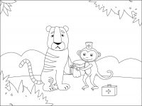 Cartoon Monkey is first aid for the wound of Tiger Coloring Page