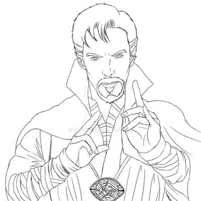 Doctor Strange And Time Stone Coloring Page