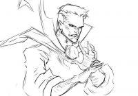 Sketch of Sorcerer Master of Mystic Art Dr.Strange Coloring Page