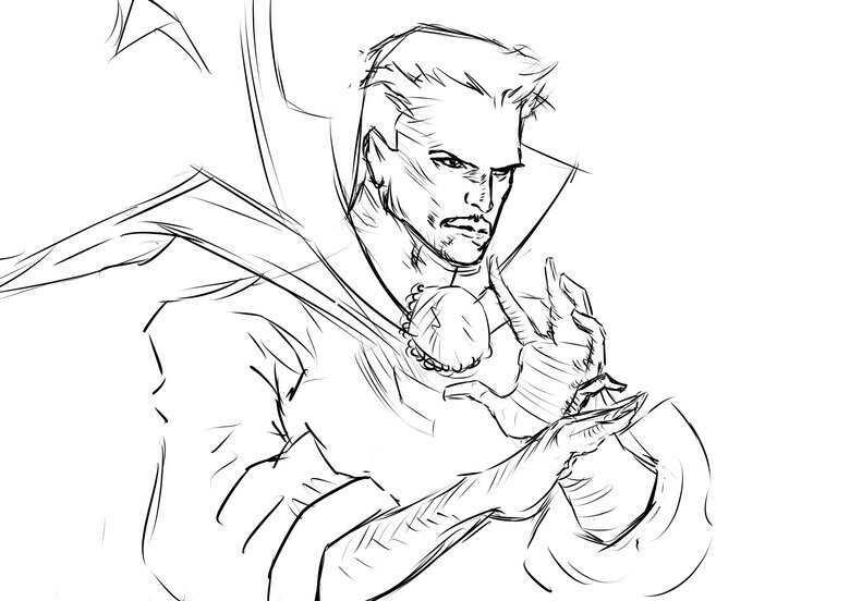 Sketch of Sorcerer Master of Mystic Art Dr.Strange Coloring Pages