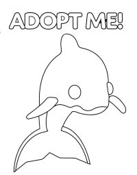 Dolphin from Adopt me features tail fins on its back Coloring Page