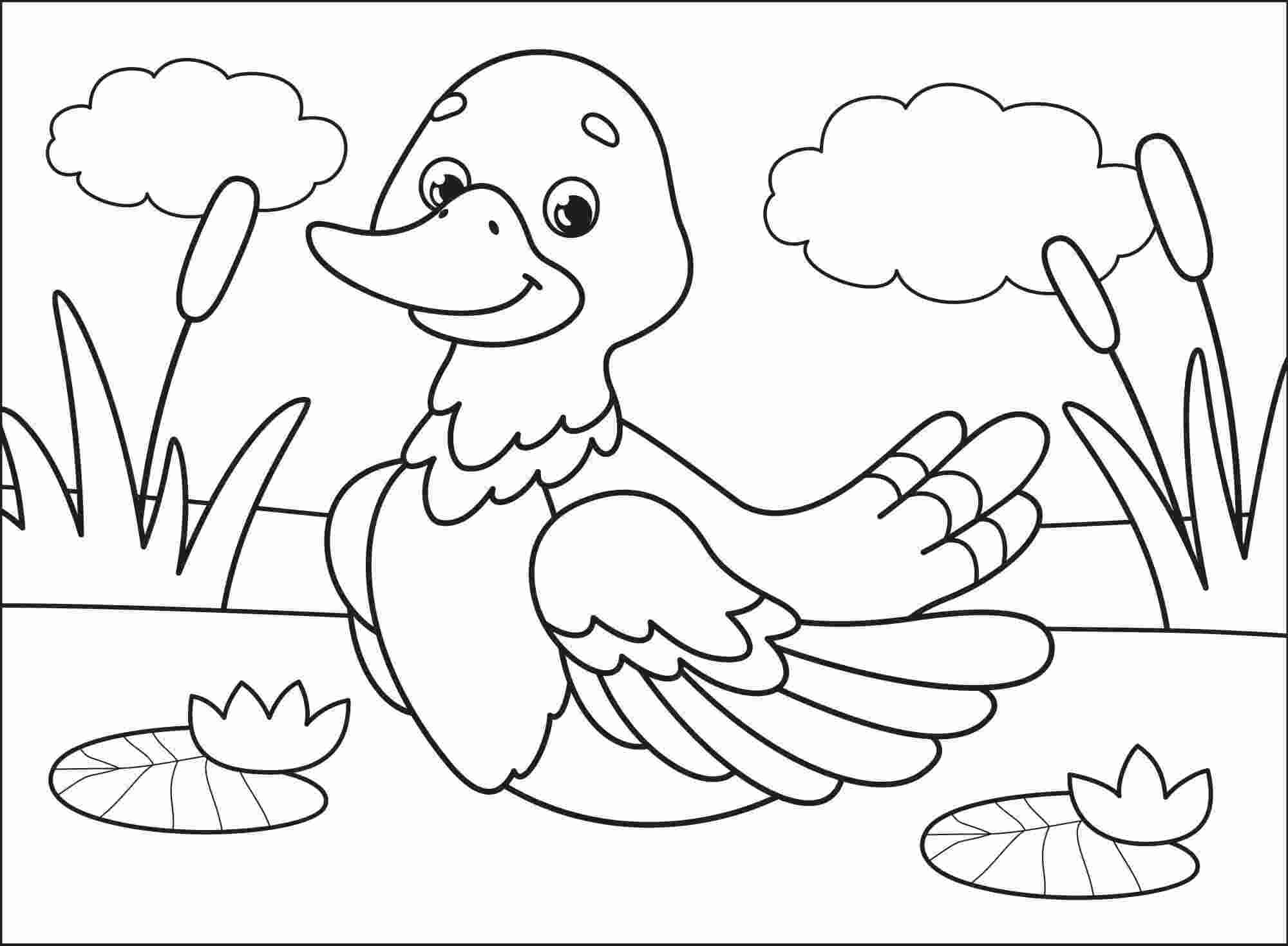 Cute cartoon duck plays on the cloud day Coloring Pages