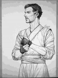 Dr.Strange focused on healing his hands and returning into his career Coloring Page