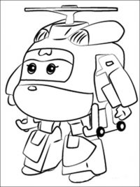 Sad Dizzy from Super Wings standing alone Coloring Page