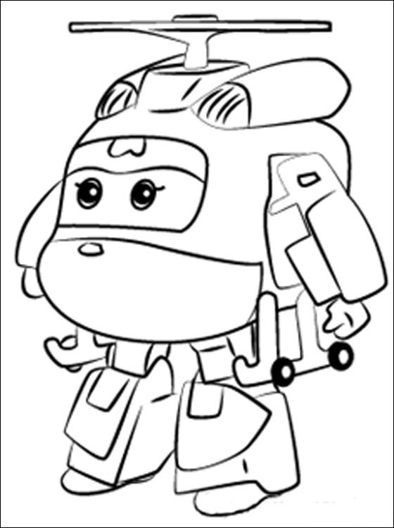 Sad Dizzy from Super Wings standing alone Coloring Pages