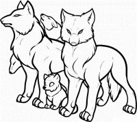 How to draw a pack of wolves Coloring Page