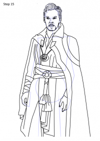 How to draw Doctor Strange from Avengers step by step Coloring Page