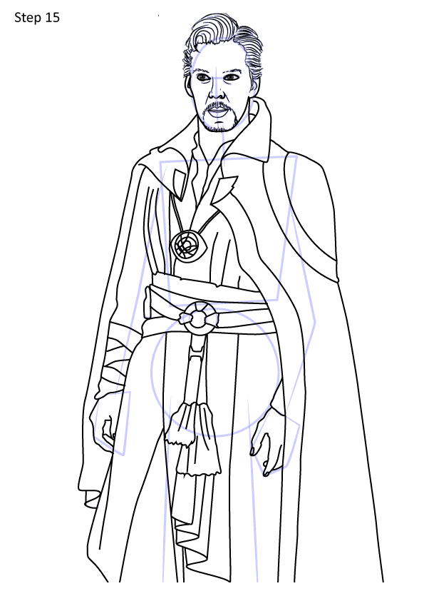 How to draw Doctor Strange from Avengers step by step Coloring Pages