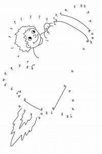 Dot-to-dot The kid on the rocket fly to the sky Coloring Page
