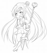 Chibi girl with a magic rod running fast Coloring Page