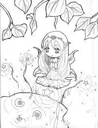 Chibi Princess Zelda Hyrule makes a wish Coloring Page