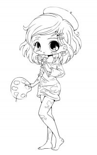 Chibi artist with color board and paintbrush Coloring Page