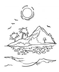 The sunset on the island Coloring Page