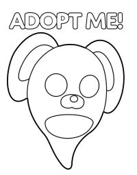 Head of Ghost Bunny in Adopt me games Coloring Page