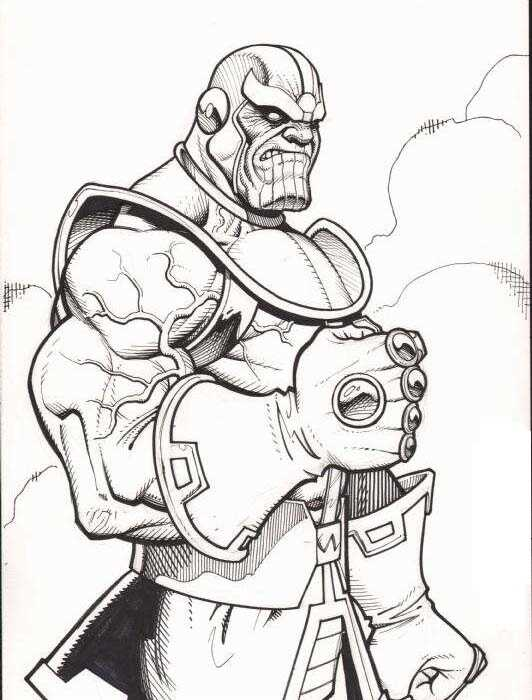 Anger of Thanos when using Infinity Gauntlet from Avengers Coloring Pages