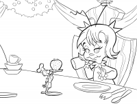 Grinch gives Cindy Lou a strawberry Coloring Page