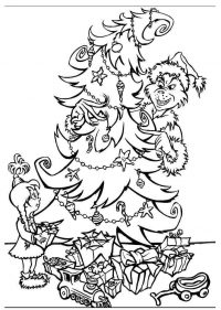 Grinch and kid are decorating Christmas tree Coloring Page